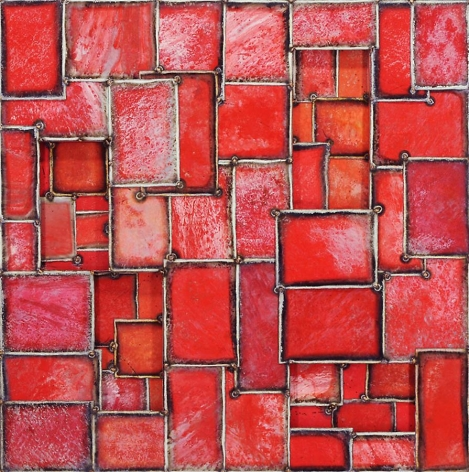 Chichen Time Red, 2011, pure pigment on steel, 45 x 45 inches