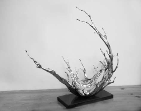 Water in Dripping No. 7 - Condensing Flow, 2017, stainless steel, 23.62 x 17.32 x 27.17 inches/60 x 44 x 69 cm
