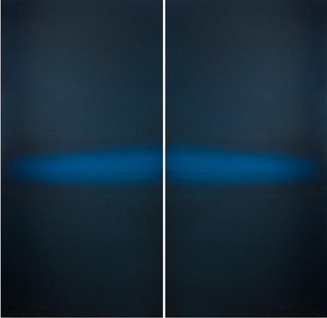 Meditation Blue Black, 2013, hand dyed anodized aluminum, 48 x 48 inches