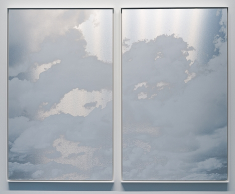 Miya Ando, May 11 2021 Kumo (Cloud) Diptych NYC, 2021, ink on aluminum composite, 60.5 x 74.5 inches/153.7 x 189.2 cm