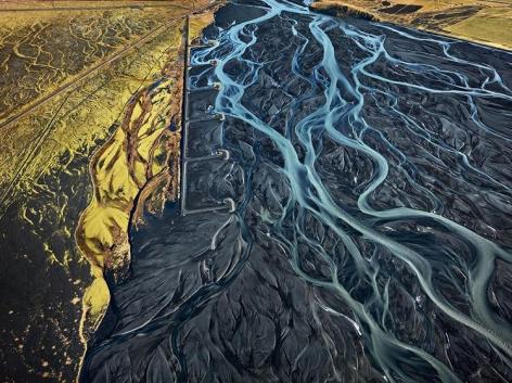 , Edward Burtynsky, Markarfljot River #1 Erosion Control, Iceland, 2012, Chromogenic color print, 39 x 52 inches/99 x 132 cm