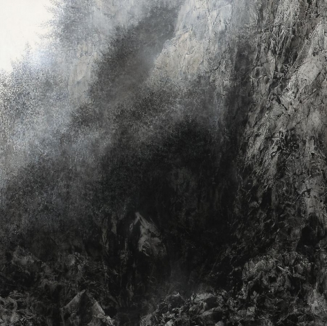 Cliff, 2012, natural and acrylic pigment on Japanese mulberry paper, 63.8 x 63.8 inches