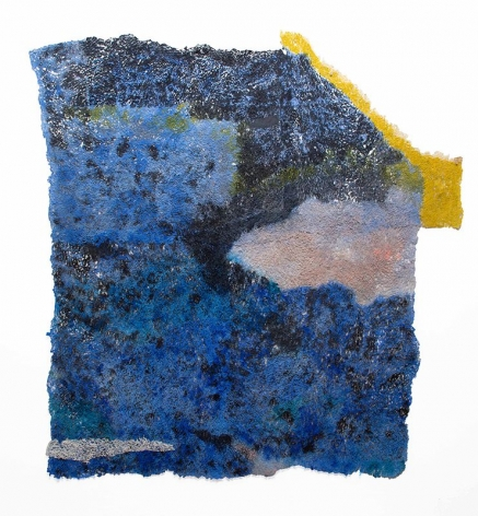 Untitled (unfinished), 2019, plucked Japanese handmade paper, acrylic paint, thread, 58 x 52 inches/147.3 x 132.1 cm