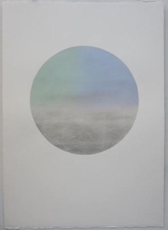 Miya Ando, Gekkou (Moonlight) November 1, 2018, silver leaf and pigment on Arches paper, 41 x 29 inches/104.1 x 73.7 cm