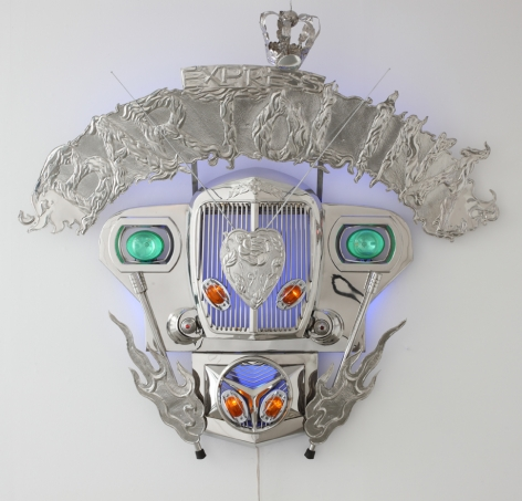 Transformers IV (Bartolina), 2010, stainless steel, jeep parts & LED lights, 68.5 x 56.7 inches/174 x 144 cm