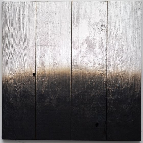 Alchemy Shou Sugi Ban 2.2.2, 2018, silver nitrate and charred redwood, 24 x 24 inches/61 x 61 cm