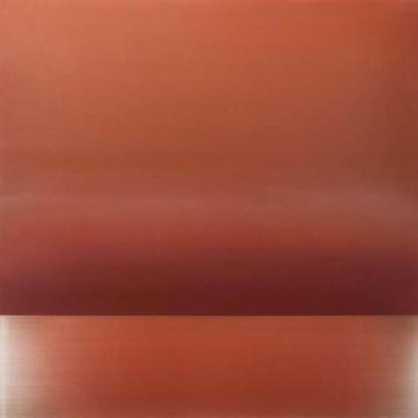 Miya Ando, Ephemeral Vermillion, 2015, Urethane, pigment, and resin on aluminum, 36 x 36 inches/91.5 x 91.5 cm