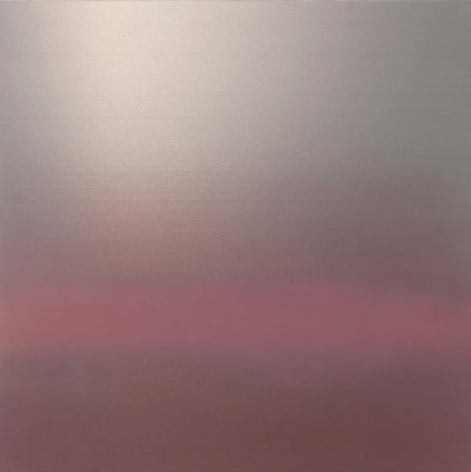 , Hakanai Fleeting Spring, 2014, hand-dyed anodized aluminum, 30 x 30 inches/76 x 76 cm