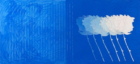 A Line Is Never Just A Line (for John Stringer), 2009, pencil, wax crayon, acrylic and marble dust on canvas, 50 x 108 inches