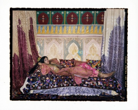 Lalla Essaydi, Harem Revisited #44, 2013, chromogenic print mounted to aluminum with a UV protective laminate, 48 x 60 inches/121.9 x 152.4 cm