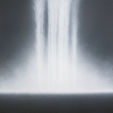 Waterfall, 2018, acrylic and natural pigments on Japanese mulberry paper mounted on board, 63.8 x 63.8 inches/162 x 162 cm