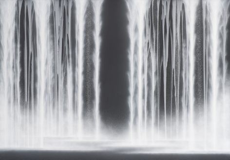 Waterfall, 2020, natural pigments on Japanese mulberry paper mounted on board, 71.6 x 102 inches/182 x 259 cm