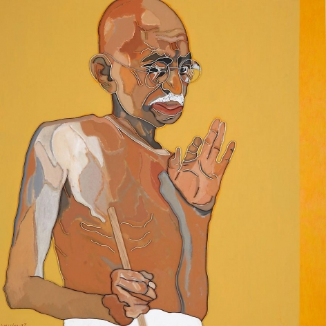 Gandhi, 2007, mixed media on canvas, 60 x 60 inches/152.4 x 152.4 cm