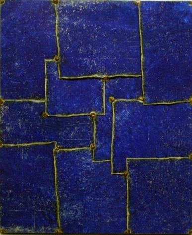 """Blue, 2009, Pure pigment on steel, 24 x 20"""""""