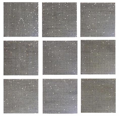 Jennifer Bartlett, Count, 1972, enamel over silkscreened on baked enamel steel plates, (9) 12 x 12 inch plates
