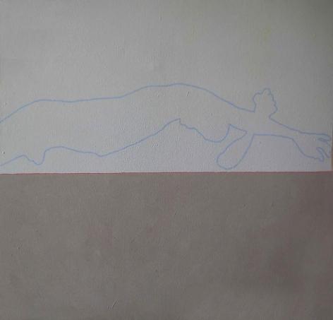 "Ayman El Semary, The Relaxation, 2008,  Acrylic, prayton, acrylic oxides on canvas, 59 x 59"""