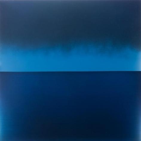 Miya Ando, Evening Blue, 2015, pigment, urethane, resin on aluminum, 36 x 36 inches