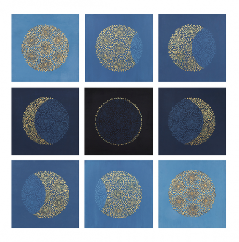 , You Are the Sun, 2015, stone pigment, Arabic gum and gold leaf on handmade Sanganer paper, 9 panels, 14 x 14 inches/35.5 x 35.5 cm each