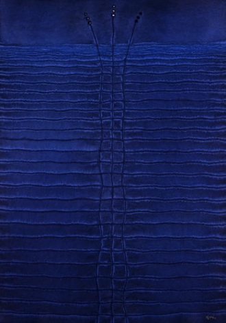 "Sohan Qadri, Anshuma, 2004, Ink & dye on paper, 55 x 39"""