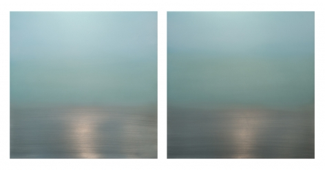Miya Ando, Sea Green Diptych, 2017, pigment, urethane, dye and resin on aluminum, 36 x 72 inches/92 x 183 cm