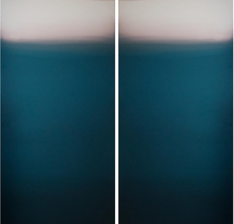 Meditation Dark Blue, 2013, hand dyed anodized aluminum, 48 x 48 inches