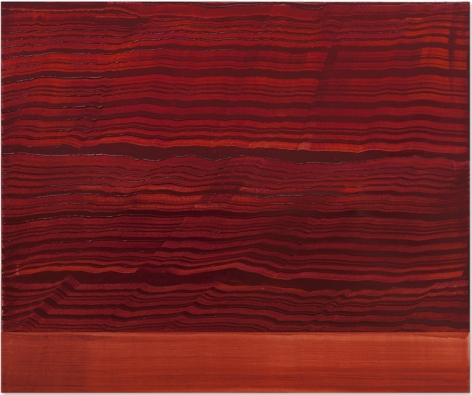 Violet Red & Red Band 1, oil on linen, 48 x 57.5 inches/122 x 146 cm