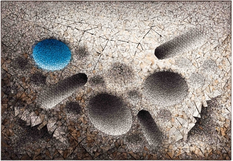Aggregation 11 - FE014 Blue, 2011, mixed media with Korean mulberry paper, 44.5 x 64.2 inches/113 x 163.1 cm