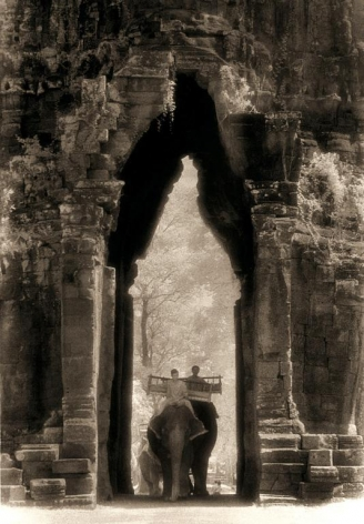 """Elephants at the Gate, Angkor Thom"", Silver Gelatin Print, 24 x 20"""