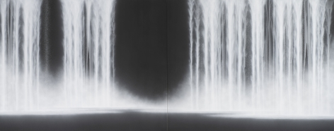 Waterfall, 2020, natural pigments on Japanese mulberry paper mounted on board, 71.6 x 179 inches/182 x 455 cm