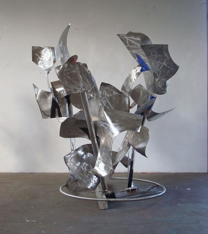 """Nothing Changes, Everything Changes, 2011, stainless steel, industrial paint, 82 1/4""""H x 68 1/2""""L x 55 1/2'W"""