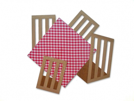 Four Square, 2010, wood panel, wood veneer, antique tablecloth, 59.5 x 61 inches