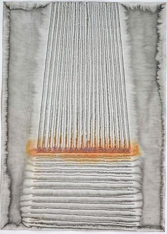 "Stambha II, 2008, Ink and dye on paper, 55 x 39"""