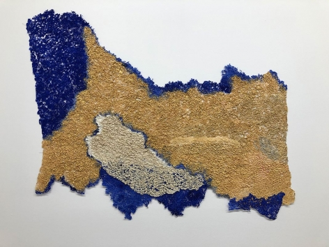 Sky 1, 2018, plucked Japanese handmade paper, acrylic paint, thread, 24 x 33 inches/61 x 83.8 cm