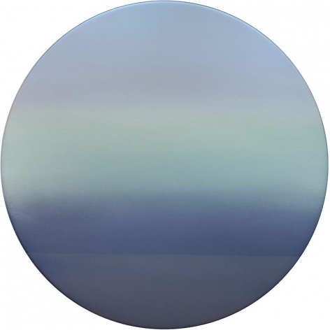 Blue Green Pink Moon 9.19.42.1.M.1.2.3.G.1.L.20, 2019, pigment, resin and urethane on aluminum, 42 x 42 inches/106.7 x 106.7 cm