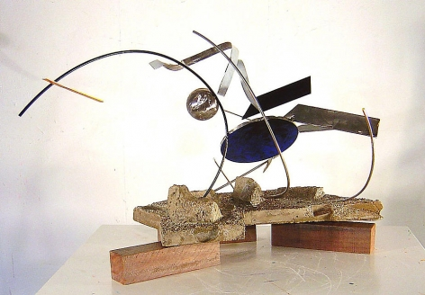"""Foxy Lady, 2006, Stainless Steel, concrete and industrial paint, 22 x 35.5 x 18"""""""