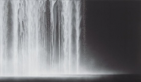 , Hiroshi Senju, Waterfall, 2012, natural pigments on Japanese mulberry paper, 44 1/8 x 76 5/16 x 1 3/16 inches