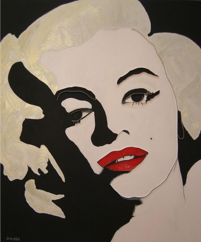 Lee Waisler, Marilyn Monroe, 2009, acrylic and wood on canvas, 72 x 60 inches