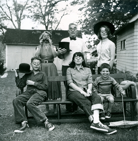 The Weil family with fake eyes in Stony Creek, Connecticut, ca. 1955