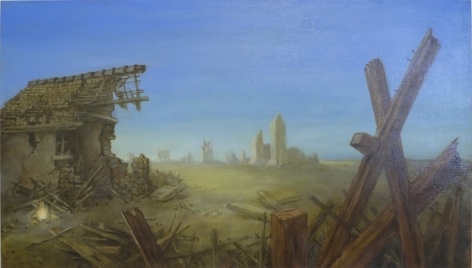 Martin Constable, Operation Flashlight, 2015, oil and acrylic on canvas, 67 x 120 cm