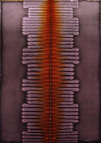 "Sohan Qadri, Pari Krama, 2004, Ink & dye on paper, 55 x 39"""