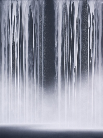 Hiroshi Senju, Waterfall, 2014, acrylic and fluorescent pigments on Japanese mulberry paper, 102 x 76 5/16 inches/259 x 194 cm
