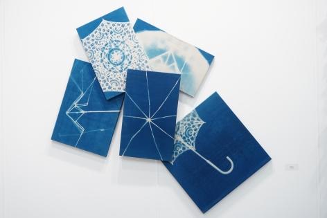 Susan Weil, Spring/Sprung, 2009, blue print, 62 x 65.5 inches/157.5 x 166.4 cm.