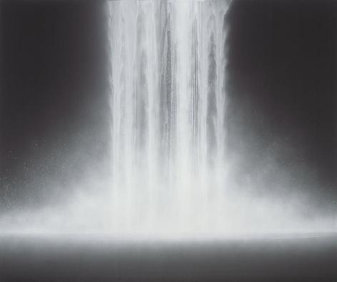 Hiroshi Senju, Waterfall, 2012, Natural pigments on Japanese mulberry paper, 63 13/16 x 76 5/16 x 1 3/16 inches