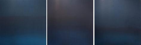 Miya Ando, Indigo triptych 2, 2013, Hand-dyed anodized aluminum, 24 x 72 inches