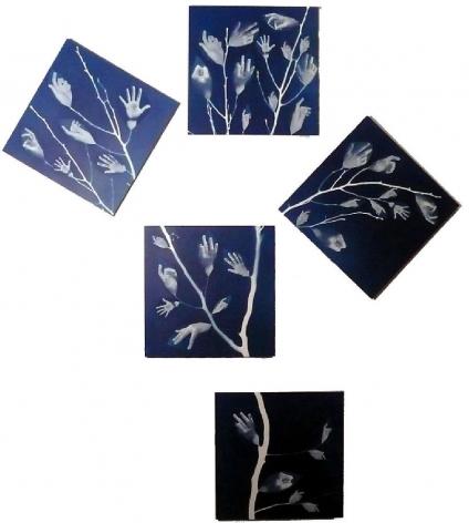 "Leaf Hands, 2007 Blueprint on canvas 78 x 71"""