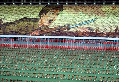 Hiroji Kubota, A mass game to celebrate Kim Il-Sung's birthday at the hundred-thousand-seat Kim Il-sung Stadium, Pyongyang, North Korea, 1982, dye-transfer print, 20 x 24 inches/50.8 x 61 cm © Hiroji Kubota/Magnum Photos