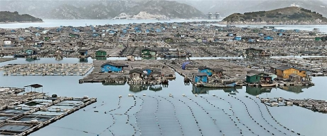Edward Burtynsky, Marine Aquaculture #2, Luoyuan Bay, Fujian Province, China, 2012, Chromogenic color print, 84.6 x 203.2 cm, Edition 2/6