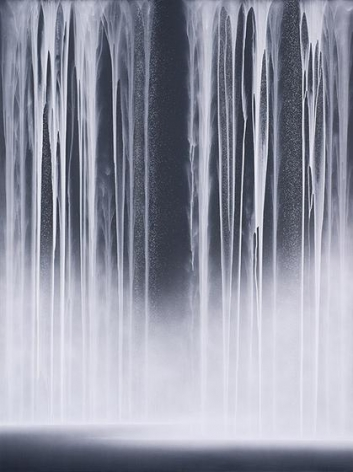 Hiroshi Senju, Waterfall, 2014, acrylic and fluorescent pigments on Japanese mulberry paper, 102 x 76 5/16 inches/259.08 x 194 cm.