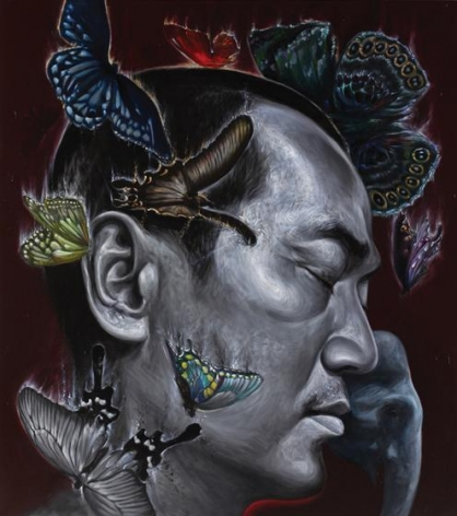 Chatchai Puipia, Life in the City of Angels: The Night Traveller, 2014, oil on canvas, 72.8 x 64.9 inches