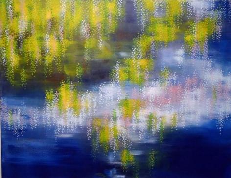 , Hosook Kang, Pond, 2014, acrylic on canvas, 53 x 69 inches / 134.6 x 175.3 cm.